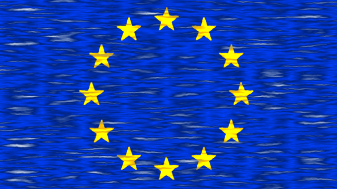 Künstlerische Darstellung der EU-Flagge (strukturierte Wellen).